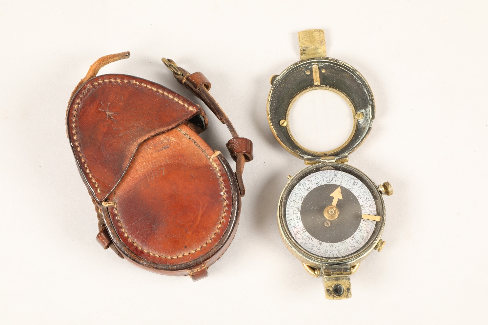 World War I Verners pattern officers military compass, by Cruchon and Emons, dated 1915 with crows