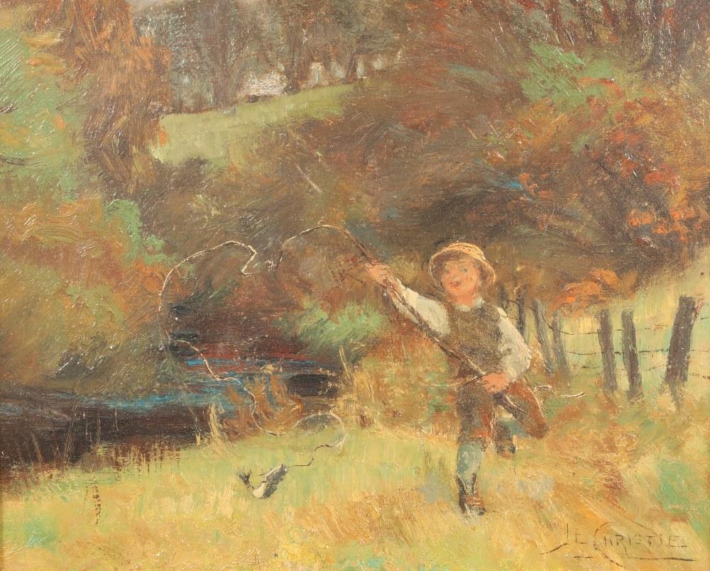James Elder Christie (Scottish 1847-1914) Gilt framed oil on canvas, signed JE Christie 'Boy