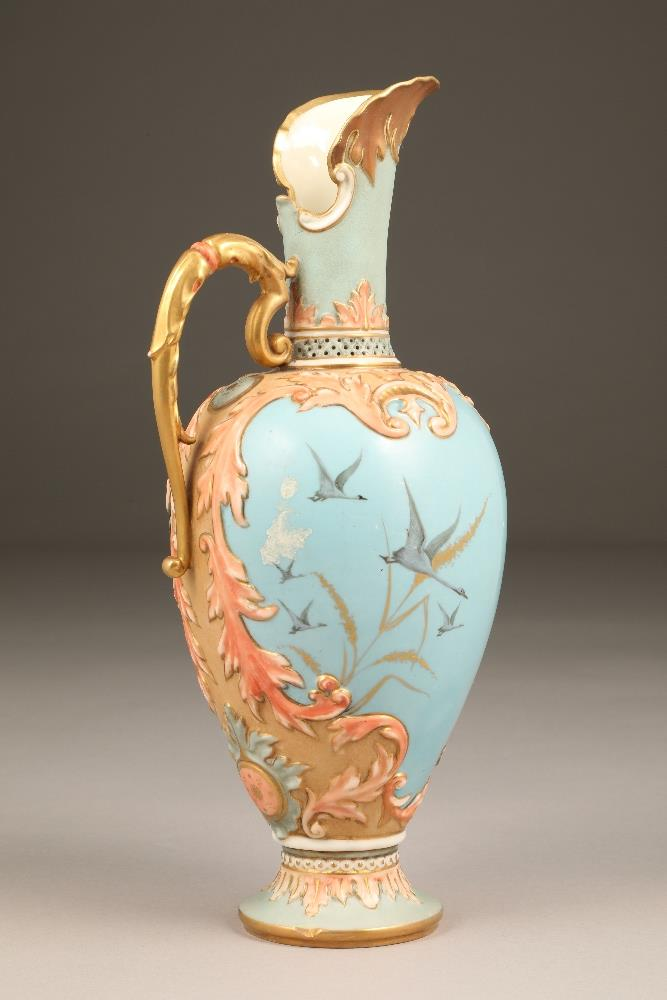 Fine Nautilus porcelain ewer, baluster form with a gilt scroll acanthus leaf handle, painted in - Image 2 of 6