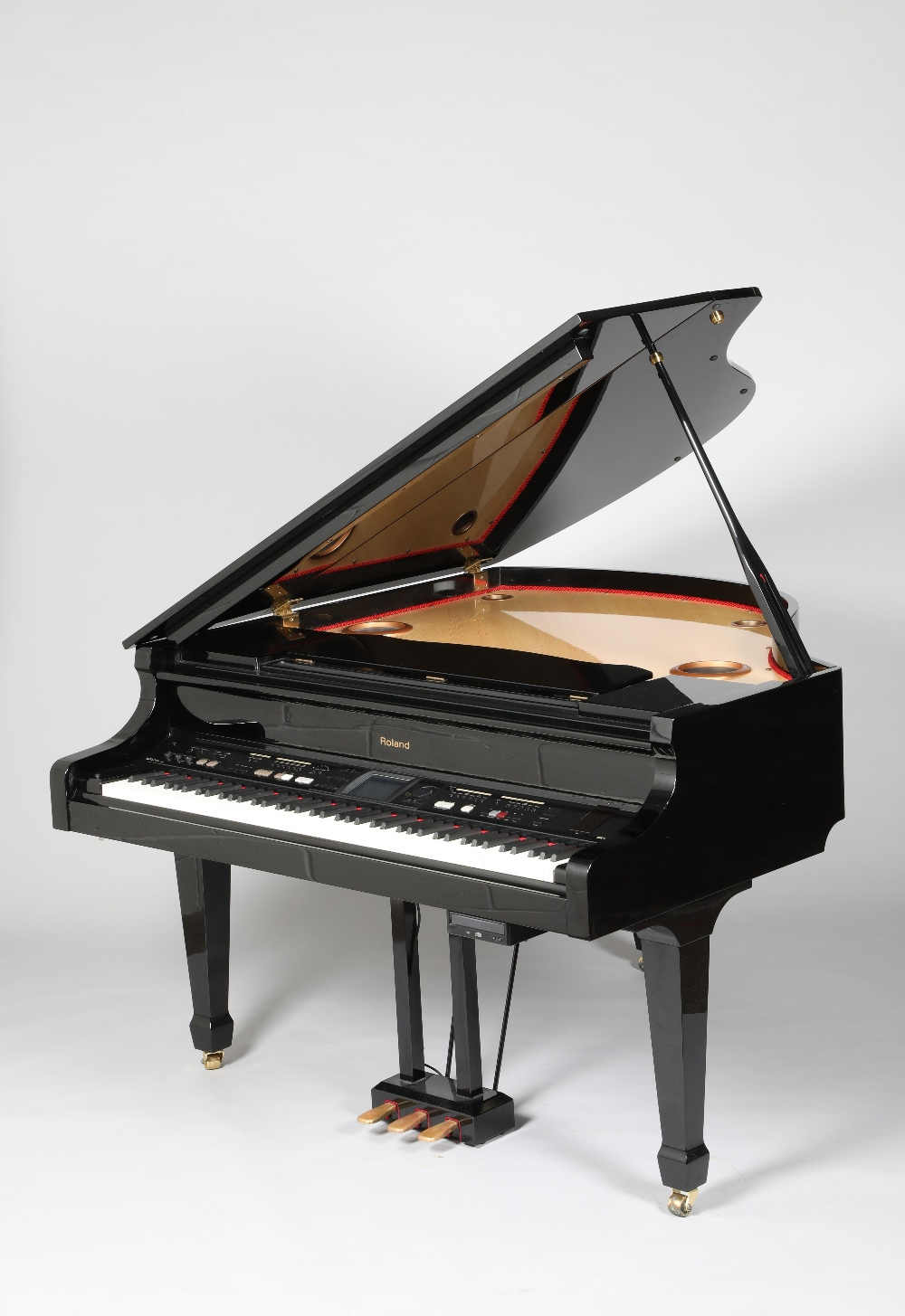 Roland KR117 digital intelligent grand piano, finished in black lacquer. The KR117 intelligent grand