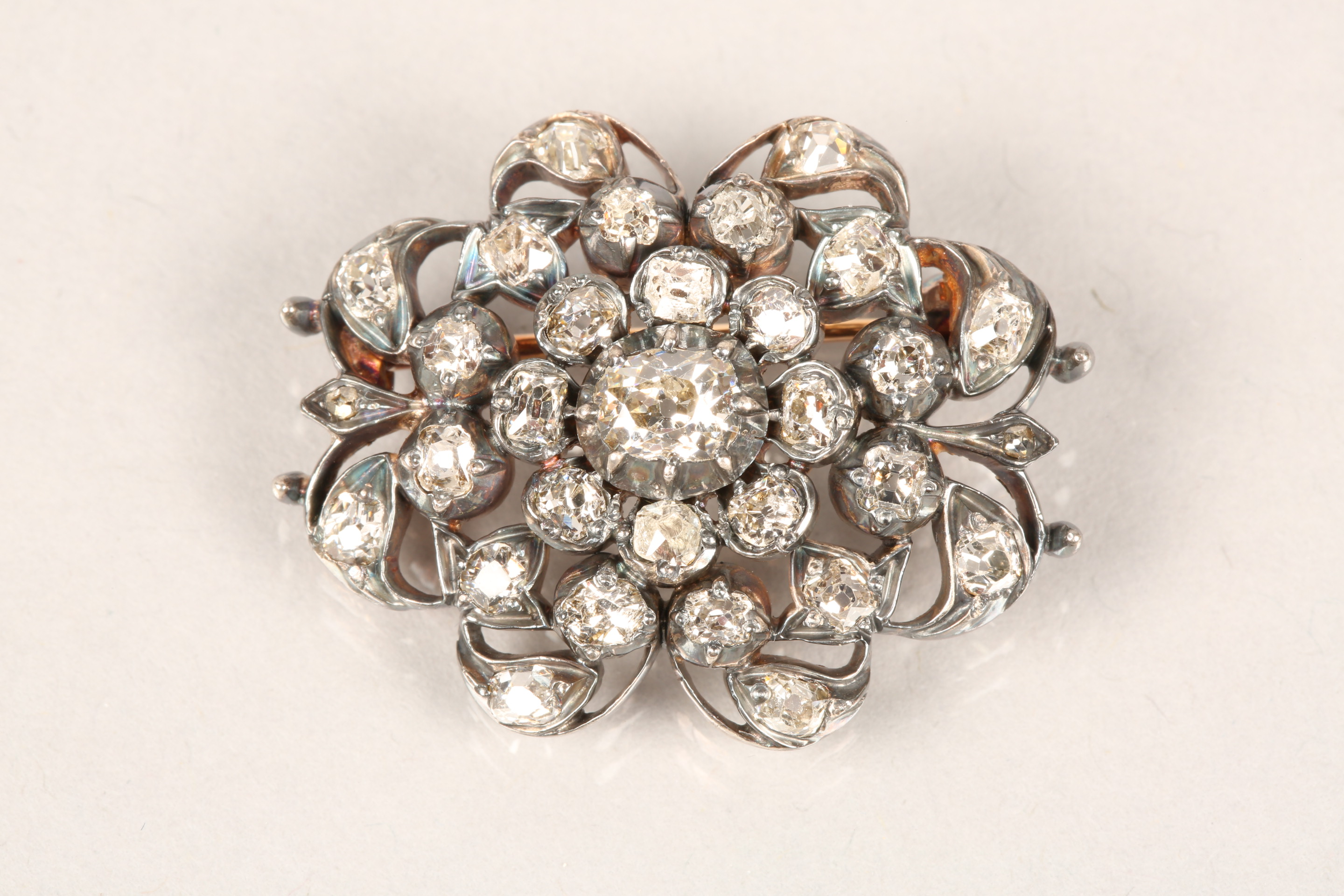 Diamond pierced cluster brooch, thirty one old cut diamonds mounted on heavily tarnished yellow - Image 3 of 7