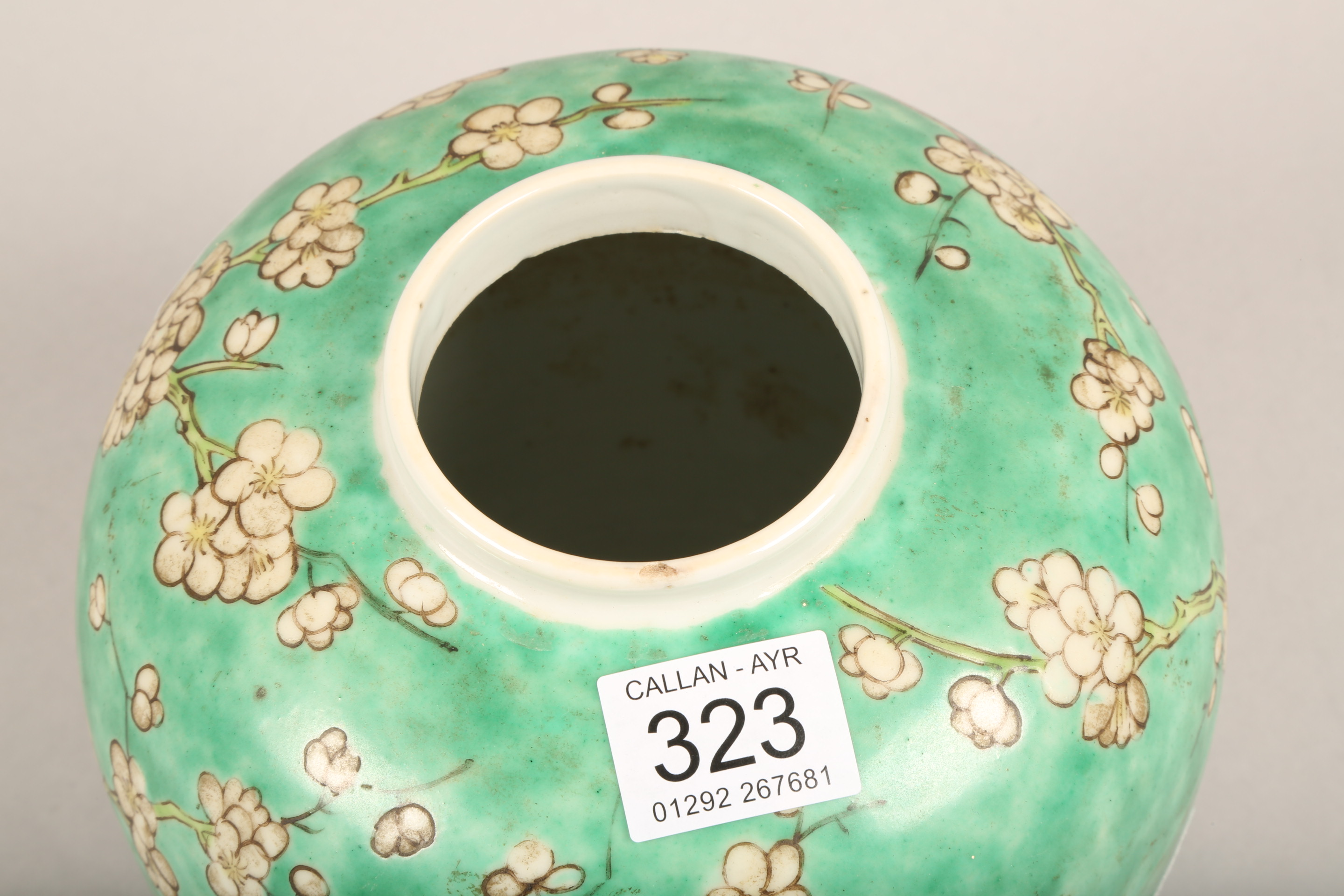 19th/20th century Chinese ginger jar and cover, green ground decorated with birds in a flowering - Image 5 of 6