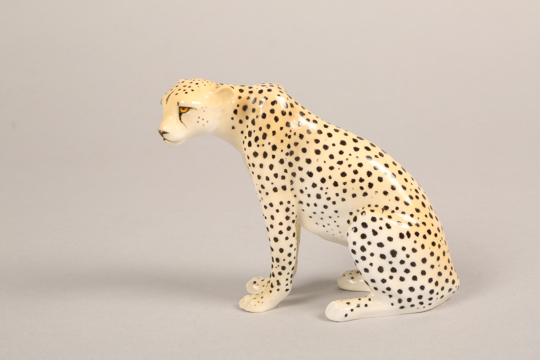 Royal Worcester porcelain cheetah figure ornament, 9.5cm high. - Image 5 of 5