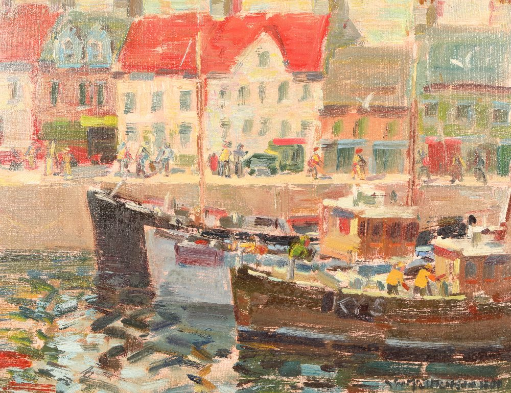 John McCutcheon ROI (Scottish born 1910) ARR Framed oil on board, signed 'Anstruther' 49cm x 59cm