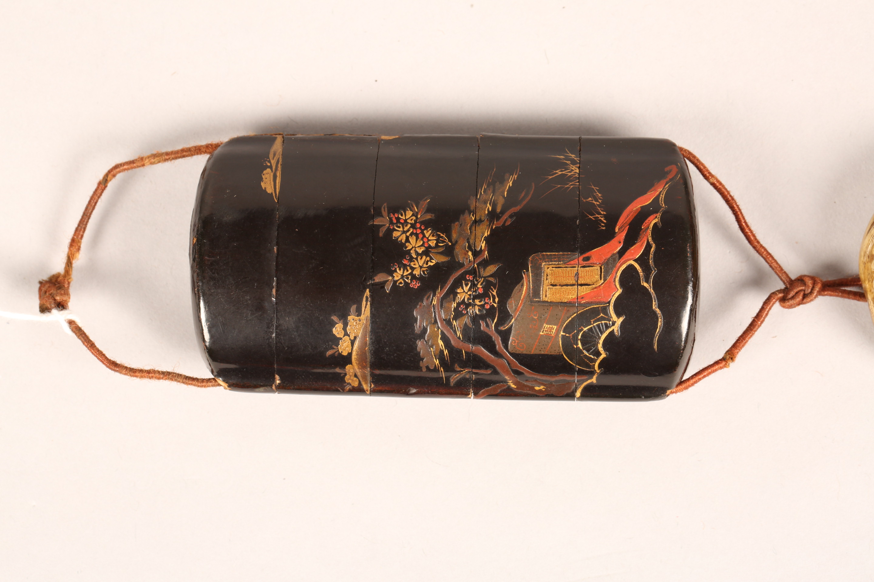 Japanese four case black lacquer inro, gilt decoration together with a carved ivory buddhist dog - Image 2 of 9