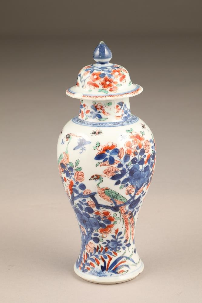 18th century Chinese vase with cover, of baluster form with Dutch decoration added (restored chipped