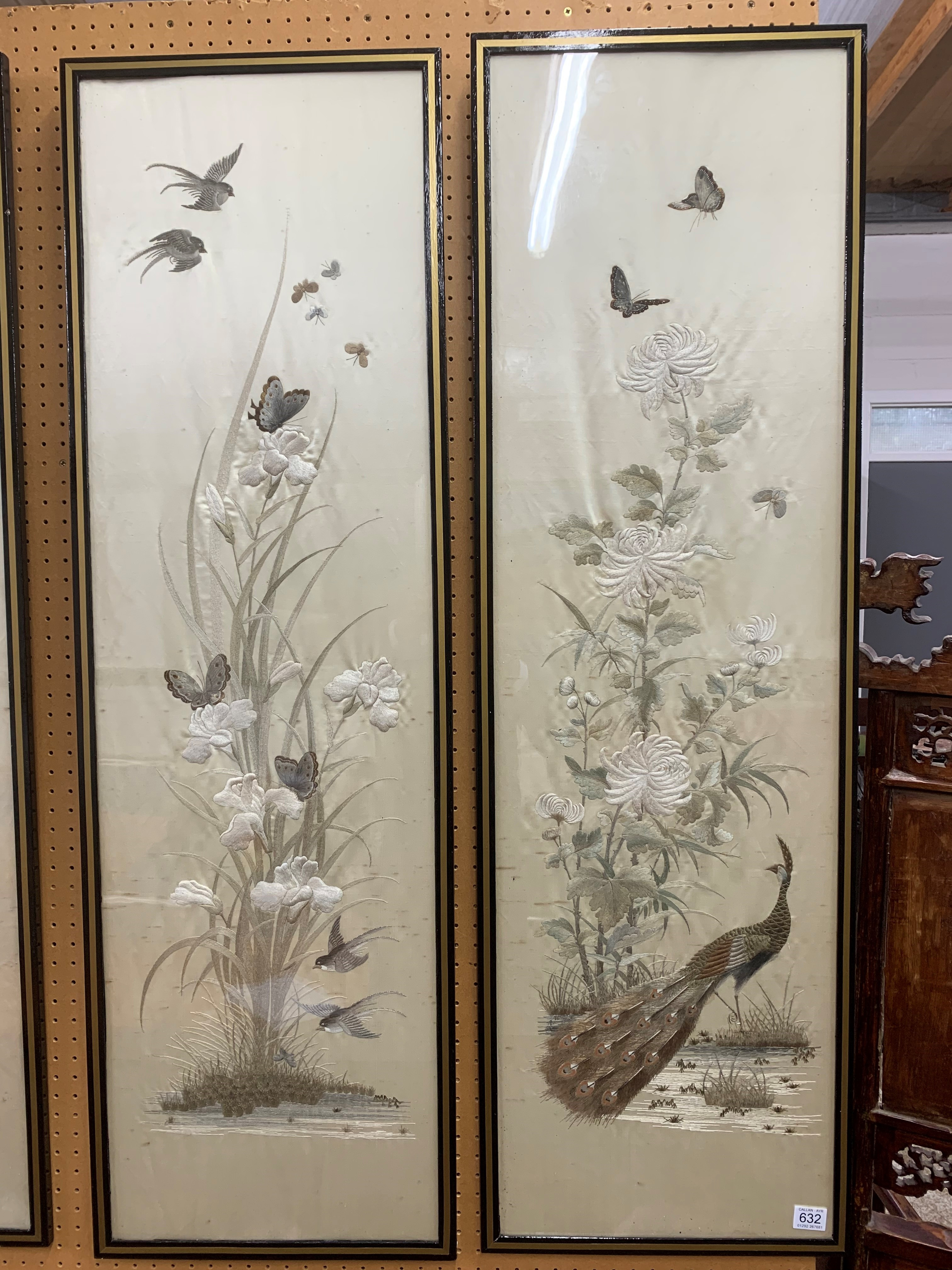 Set of four Japanese framed silk works depicting assorted flowers, bamboo with birds and - Image 2 of 10