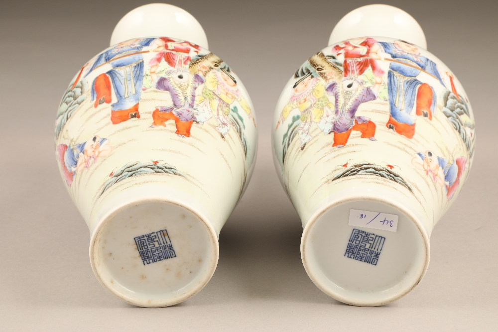 Pair 19th/20th century Chinese vases, of baluster form decorated with children playing with a sword, - Image 2 of 7