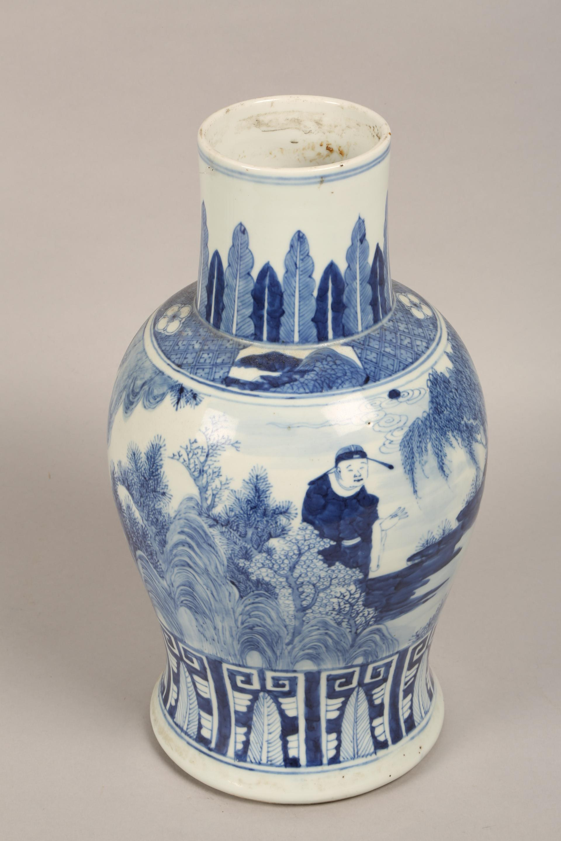 19th century Chinese blue and white vase of baluster form, decorated with figures in a landscape ( - Image 6 of 6