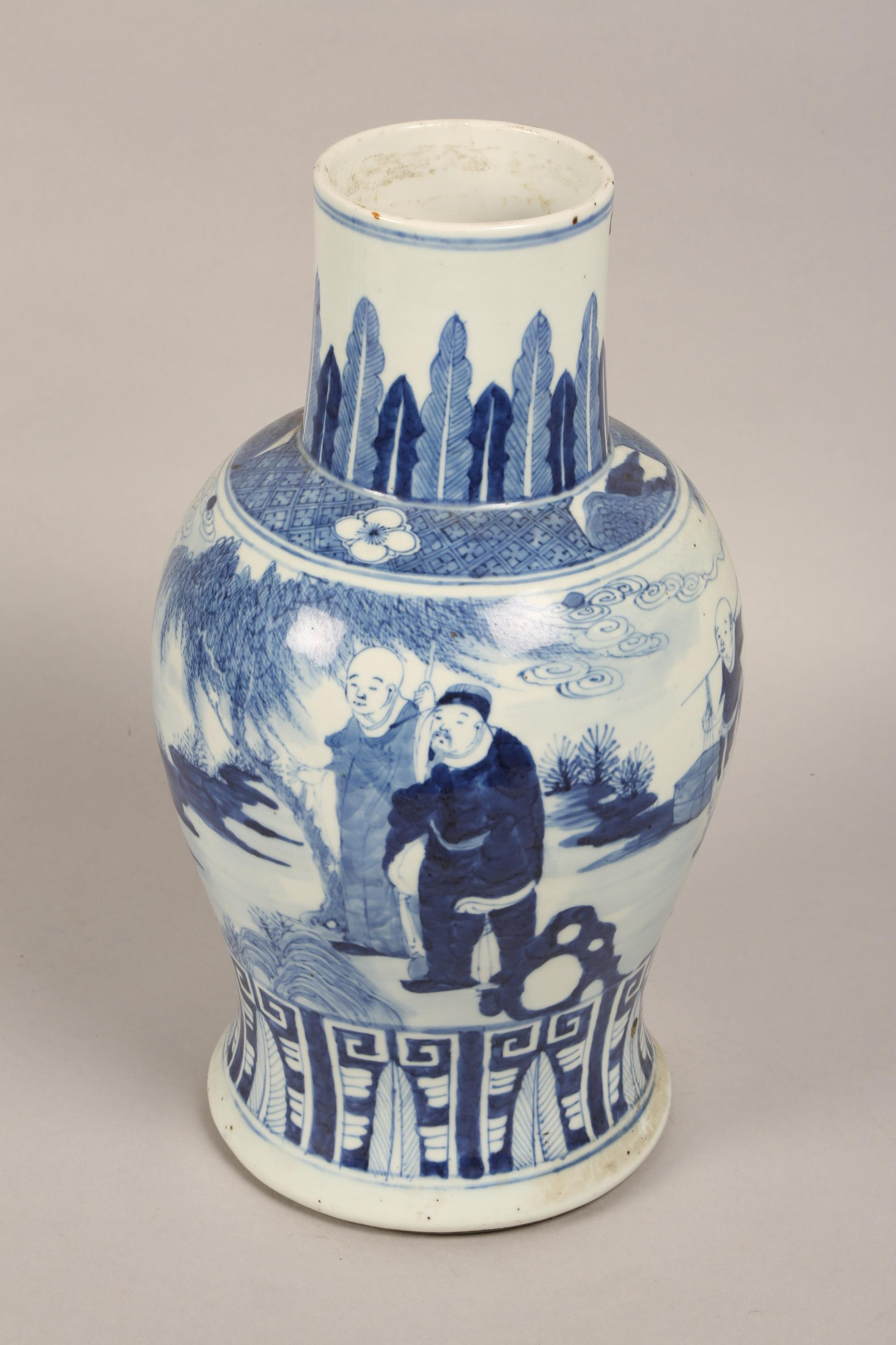 19th century Chinese blue and white vase of baluster form, decorated with figures in a landscape ( - Image 5 of 6