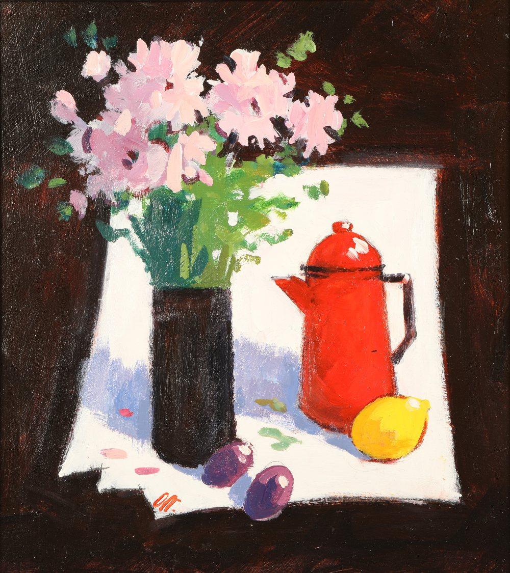 James Orr (Scottish 1931 - 2019) ARR Framed oil on board, signed, dated 2009 'Still Life with Red