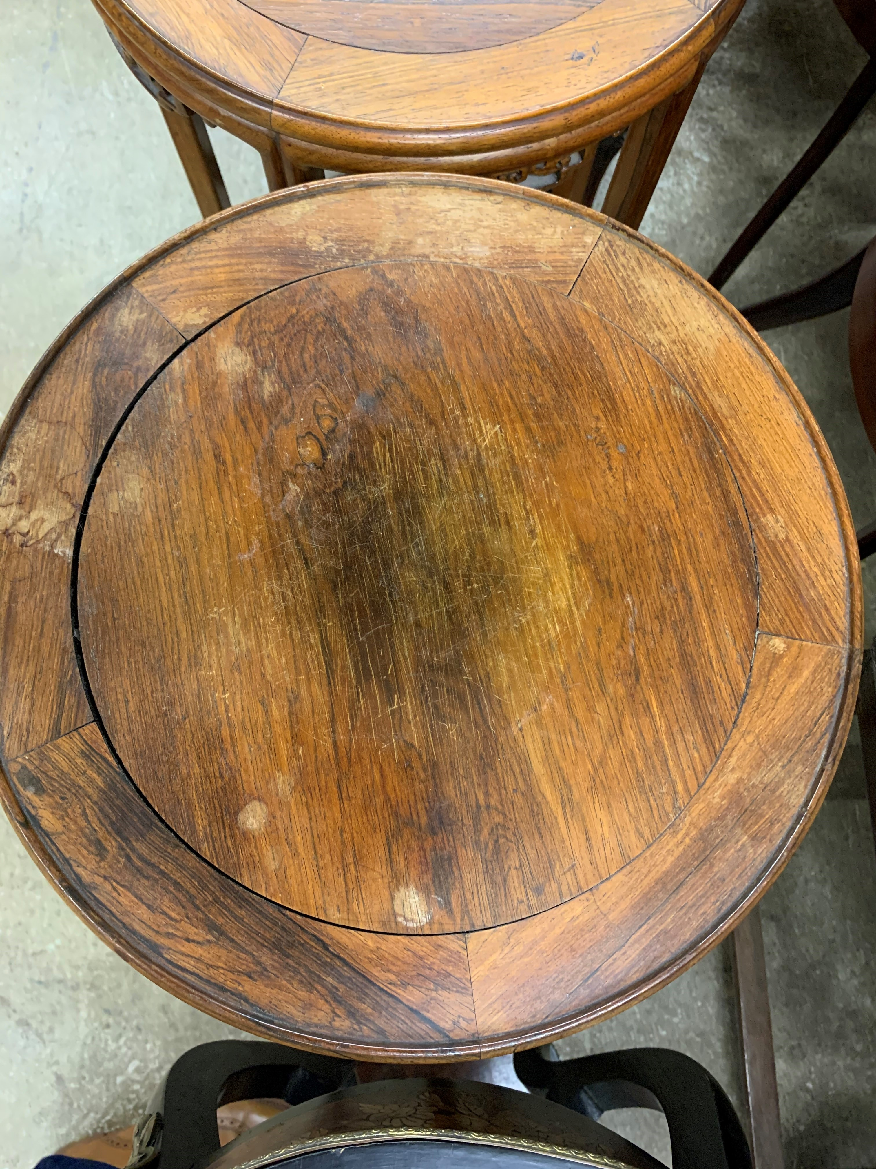 Pair Chinese hardwood jardinière stands, circular tops supported on five legs united by base - Image 7 of 8