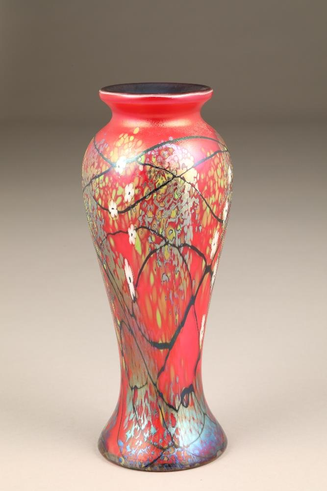 An Okra iridescent baluster glass vase, circa 2001 by Richard P Golding, in 'The Blossoms'