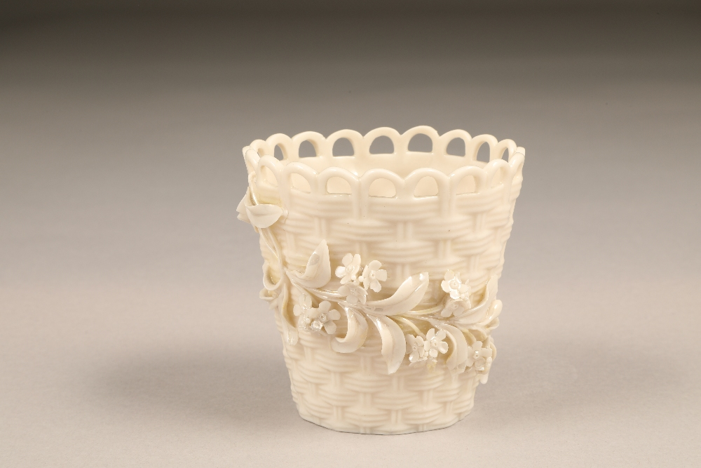Belleek plant pot, three strand woven body with applied flowers, 9cm high.