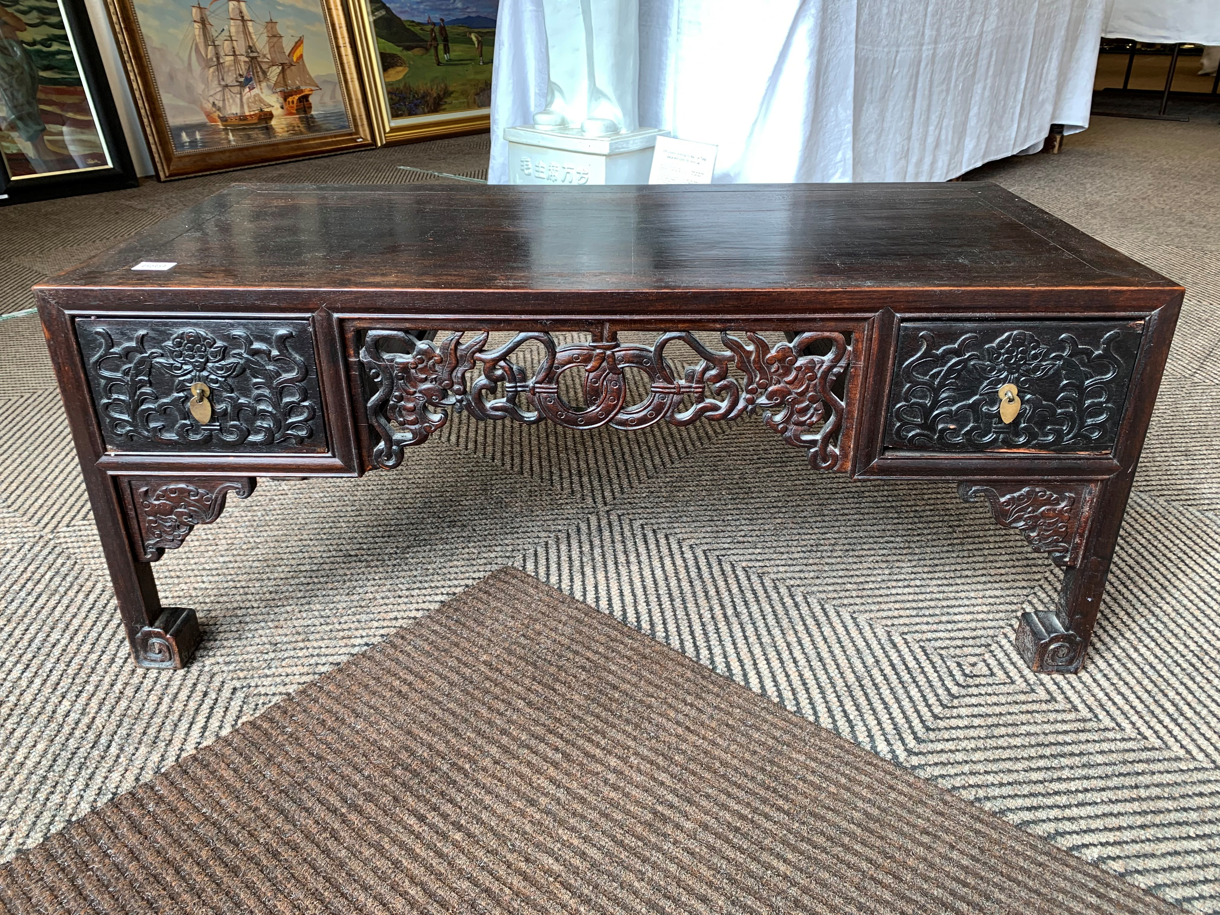Pair Chinese hardwood low tables, pierced and carved frieze between two single fitted drawers, - Image 8 of 14