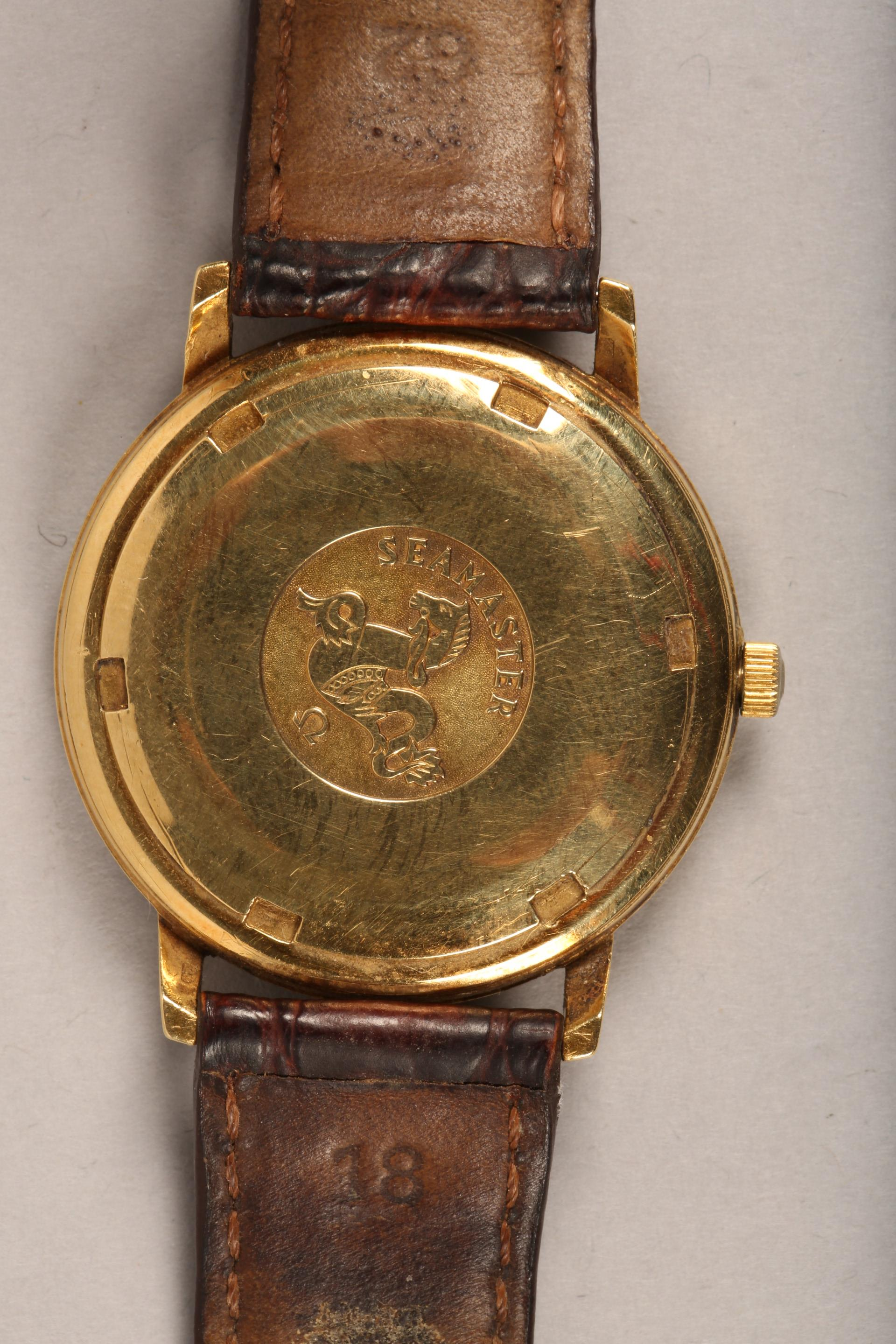 Gents 9 carat gold Omega Seamaster automatic wrist watch, dial with hour markers and sweeping - Image 7 of 10