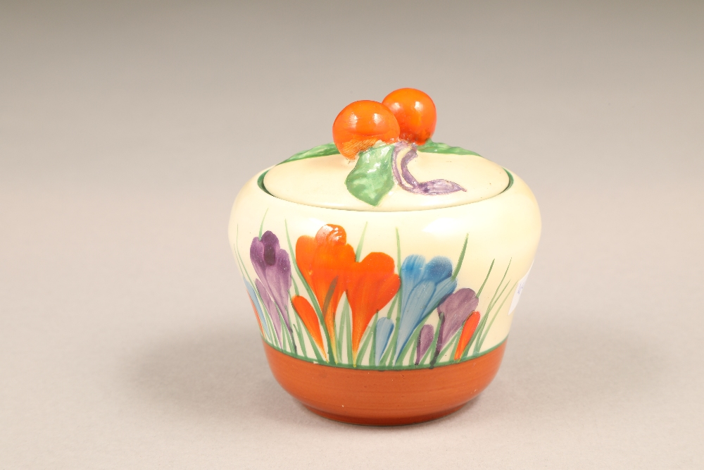 A Clarice Cliff Bizarre crocus pattern preserve pot and cover, with printed mark, 7.5cm high. - Image 4 of 5