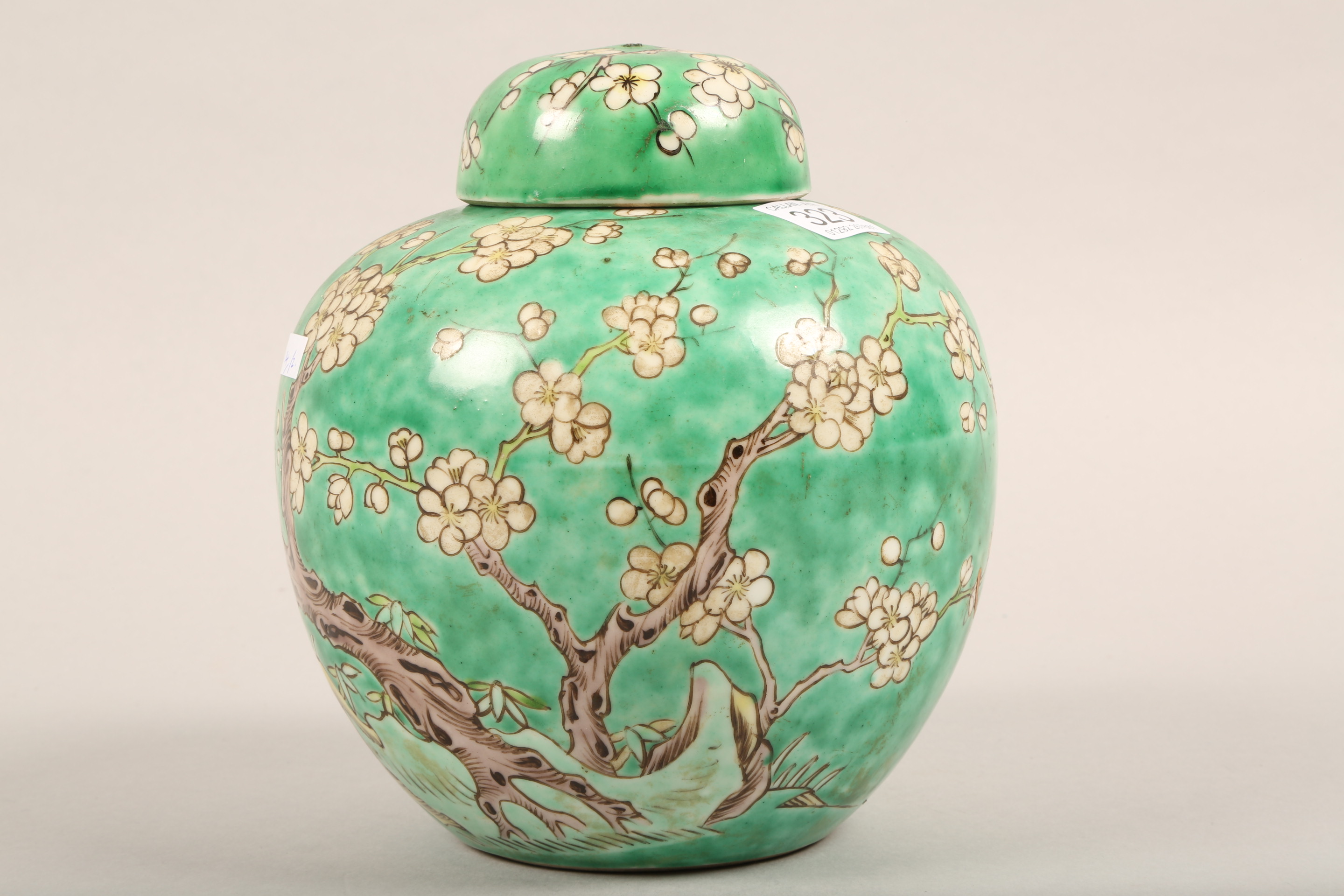 19th/20th century Chinese ginger jar and cover, green ground decorated with birds in a flowering - Image 3 of 6