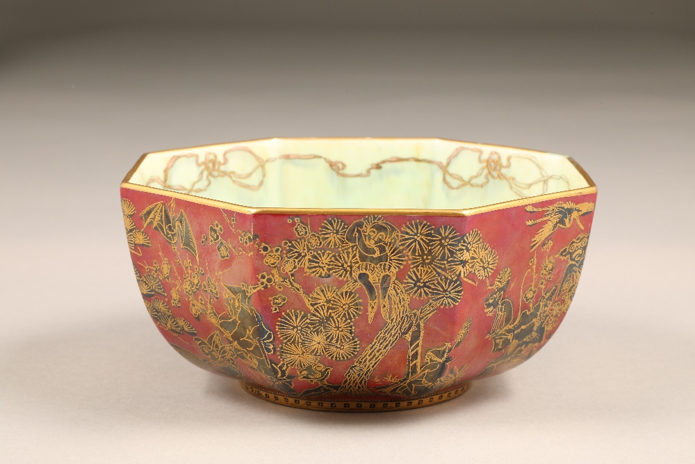 Wedgwood fairyland lustre bowl, by Daisy Makeig-Jones, octagonal form, decorated in the Firbolgs