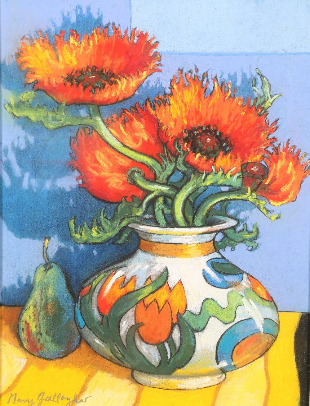 Mary Gallacher (Scottish born 1953) ARR Framed mixed media, signed 'Still life Art Deco Vase of