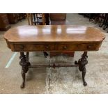 Victorian burr walnut stretcher table, with fitted drawers 107cm long, 52cm wide, 69cm high