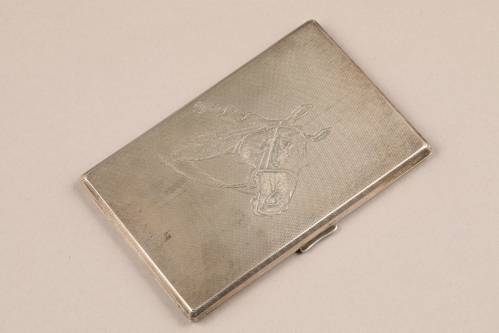 Silver cigarette case, engine turned decoration with engraved horse portrait to cover. Assay