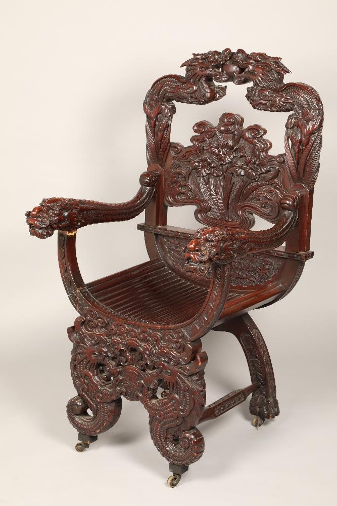 Early 20th century Japanese carved rosewood dragon chair, probably republic period 1910-30.67cm wide