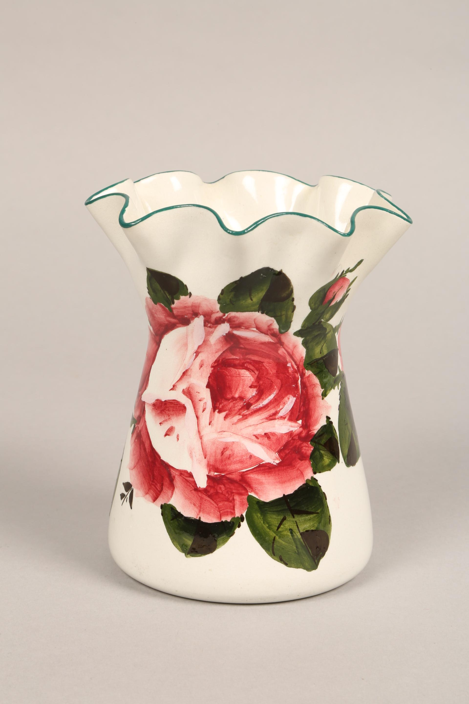 Wemyss pottery vase, lobed rim, hand painted with cabbage roses, incised Wemyss and retailers - Image 2 of 10