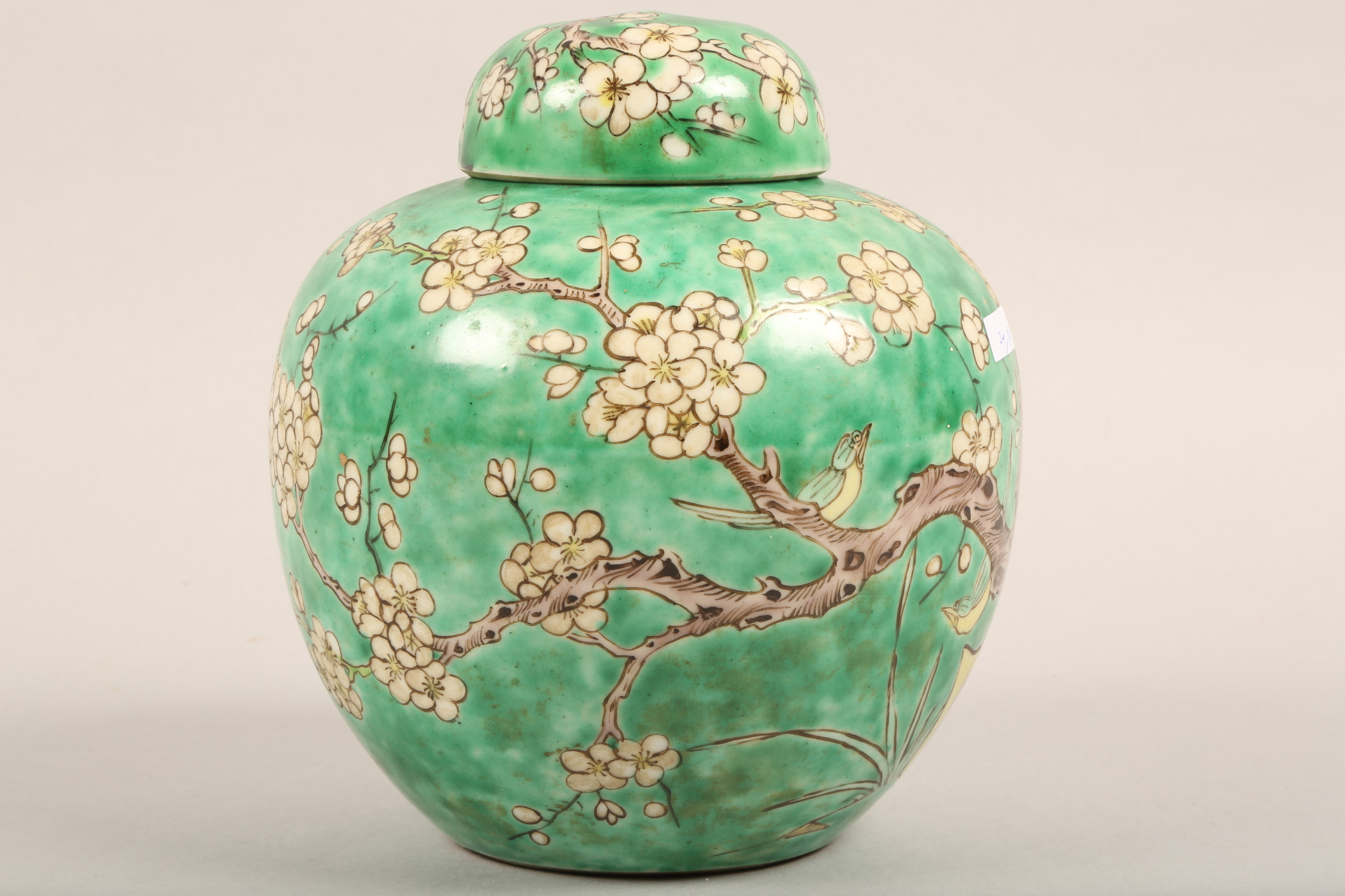 19th/20th century Chinese ginger jar and cover, green ground decorated with birds in a flowering - Image 2 of 6