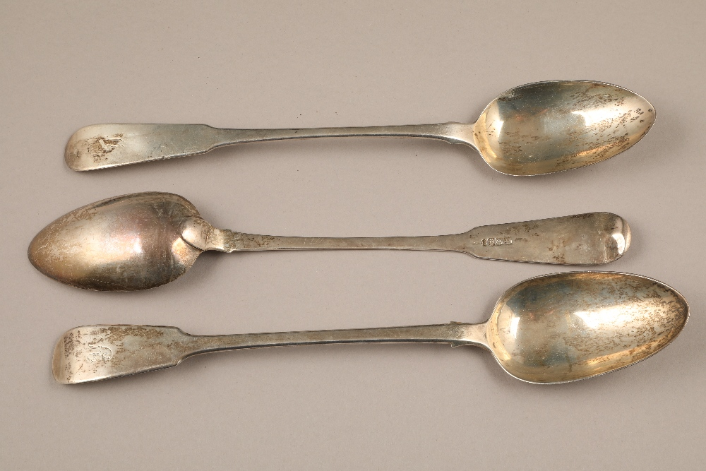 Pair Scottish George III silver basting spoons, assay marked Edinburgh 1819, and another marked