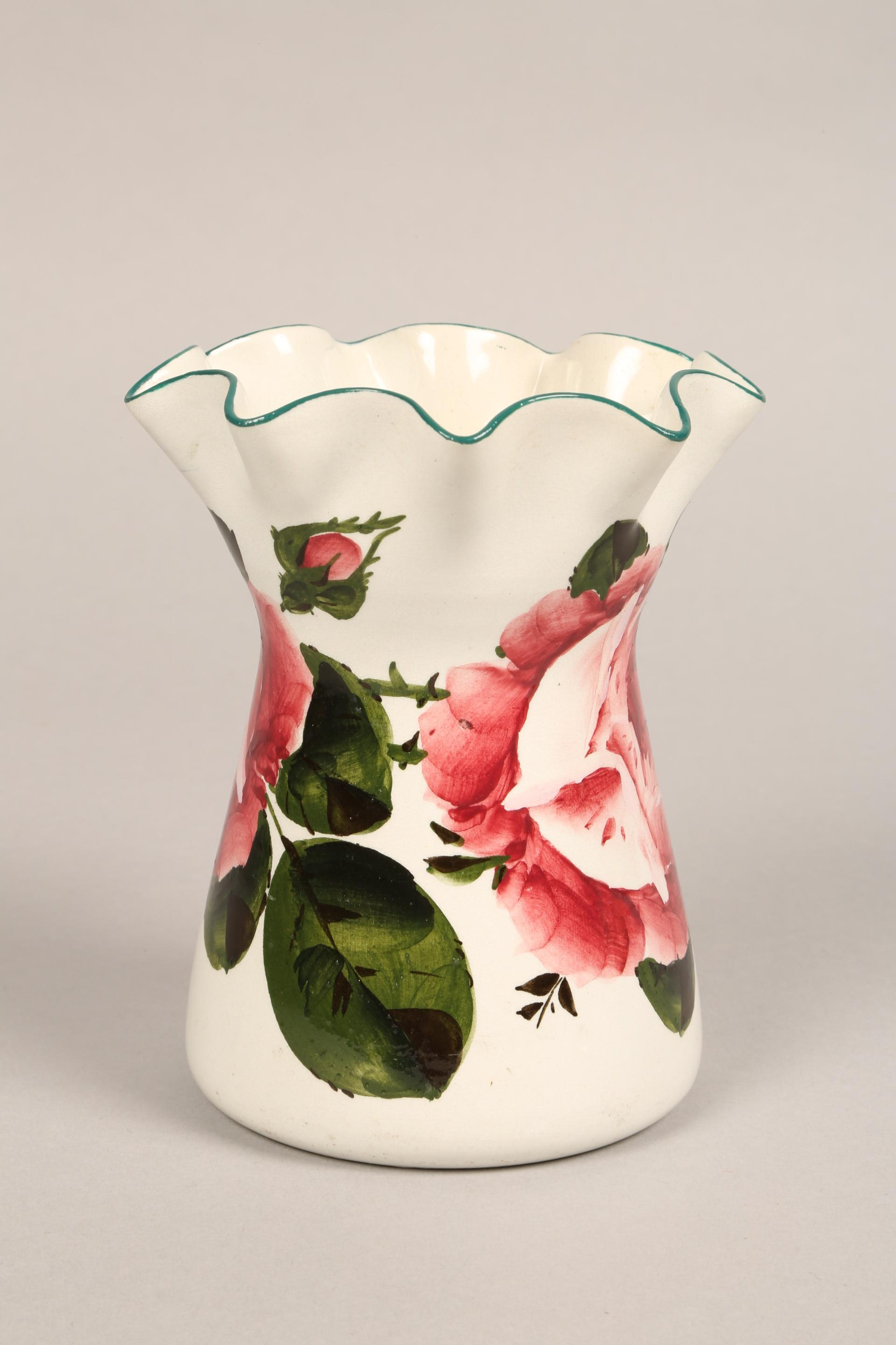 Wemyss pottery vase, lobed rim, hand painted with cabbage roses, incised Wemyss and retailers