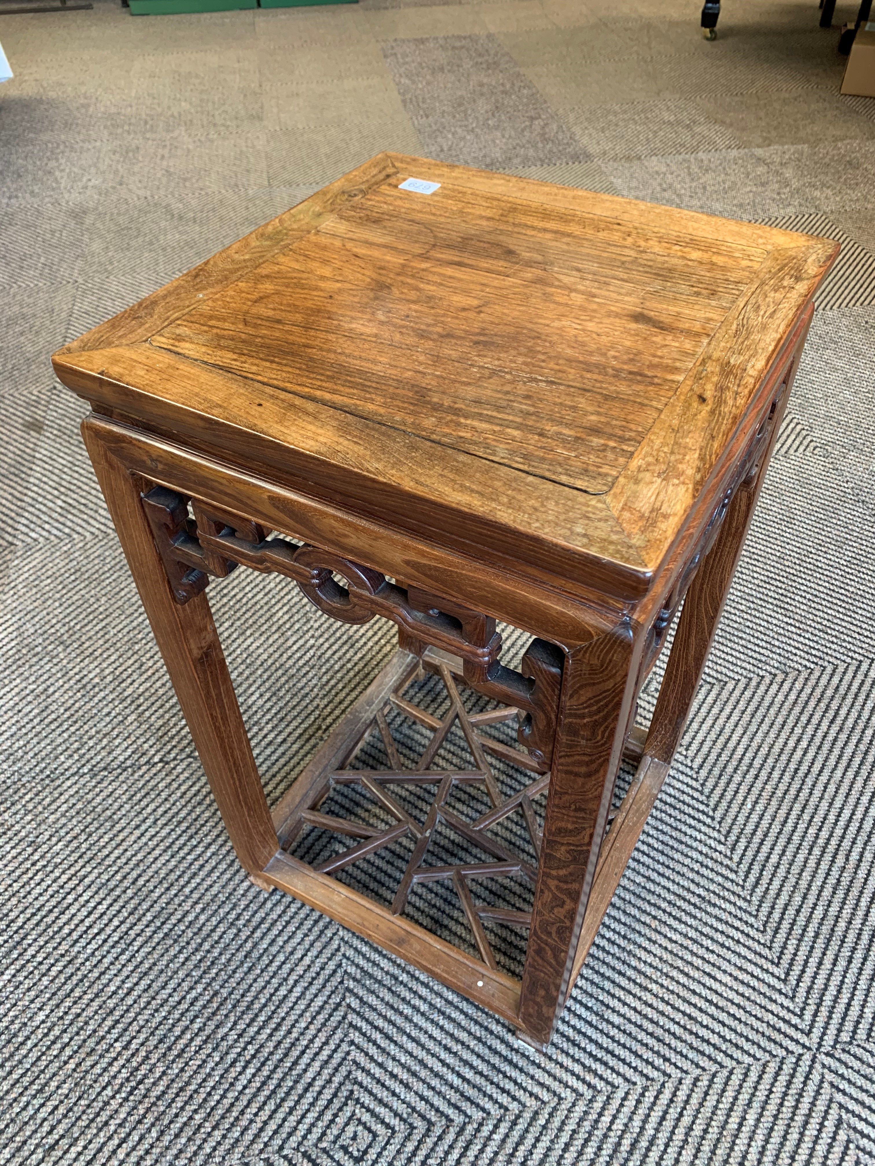 Chinese hardwood jardiniere stand, square topped raised on four legs united by cross stretchers, - Image 3 of 6