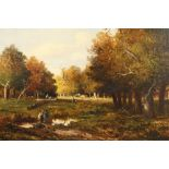 J. Meissenberg (European 19th century) Framed oil on canvas, signed 'Cattle in a Wooded Glade'