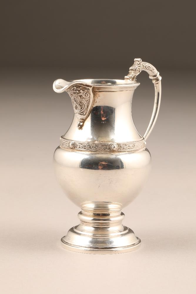 Silver cream jug, assay marked Edinburgh 1937 by Brook & Son, Edinburgh, 132g.