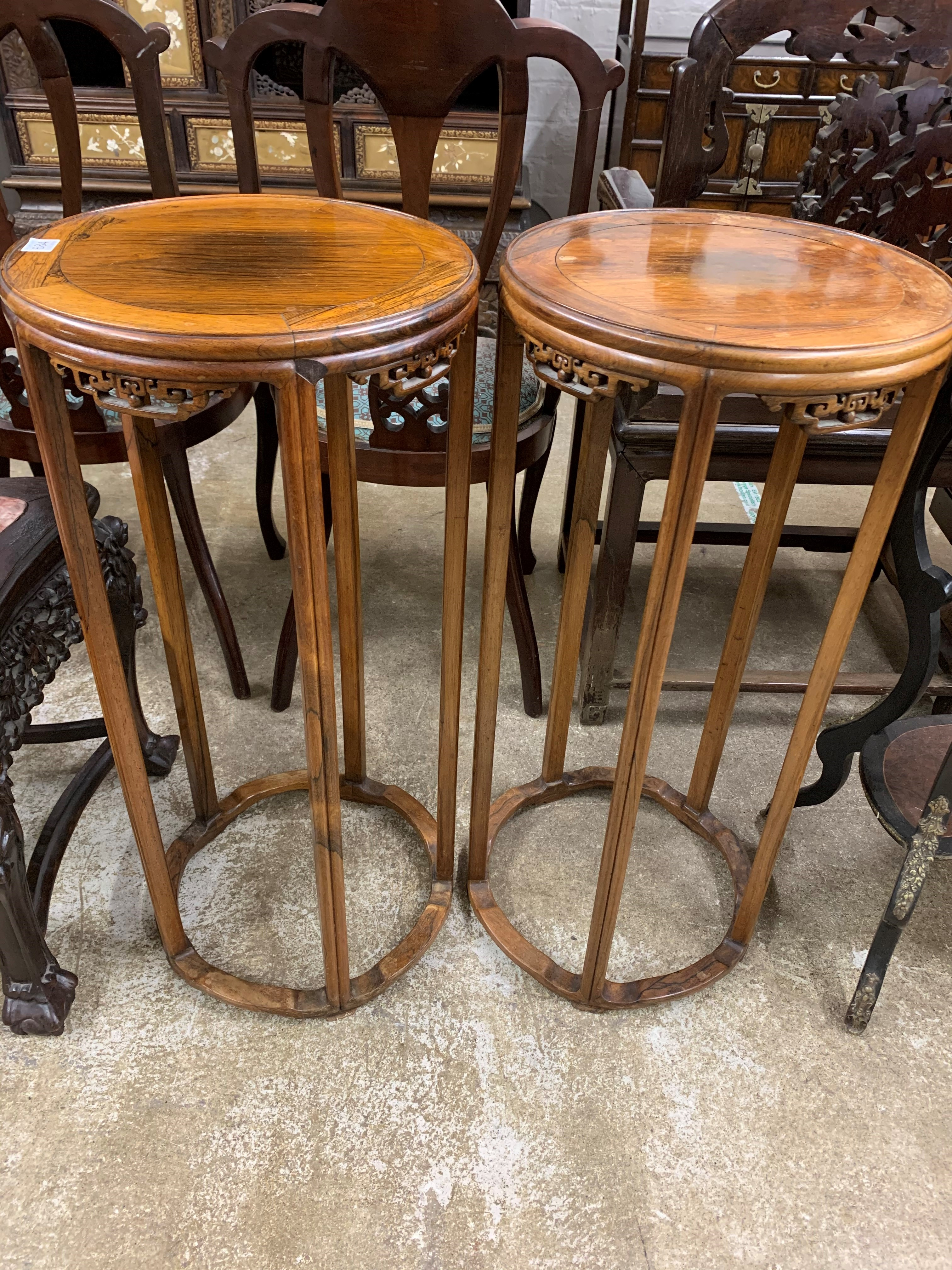 Pair Chinese hardwood jardinière stands, circular tops supported on five legs united by base - Image 3 of 8