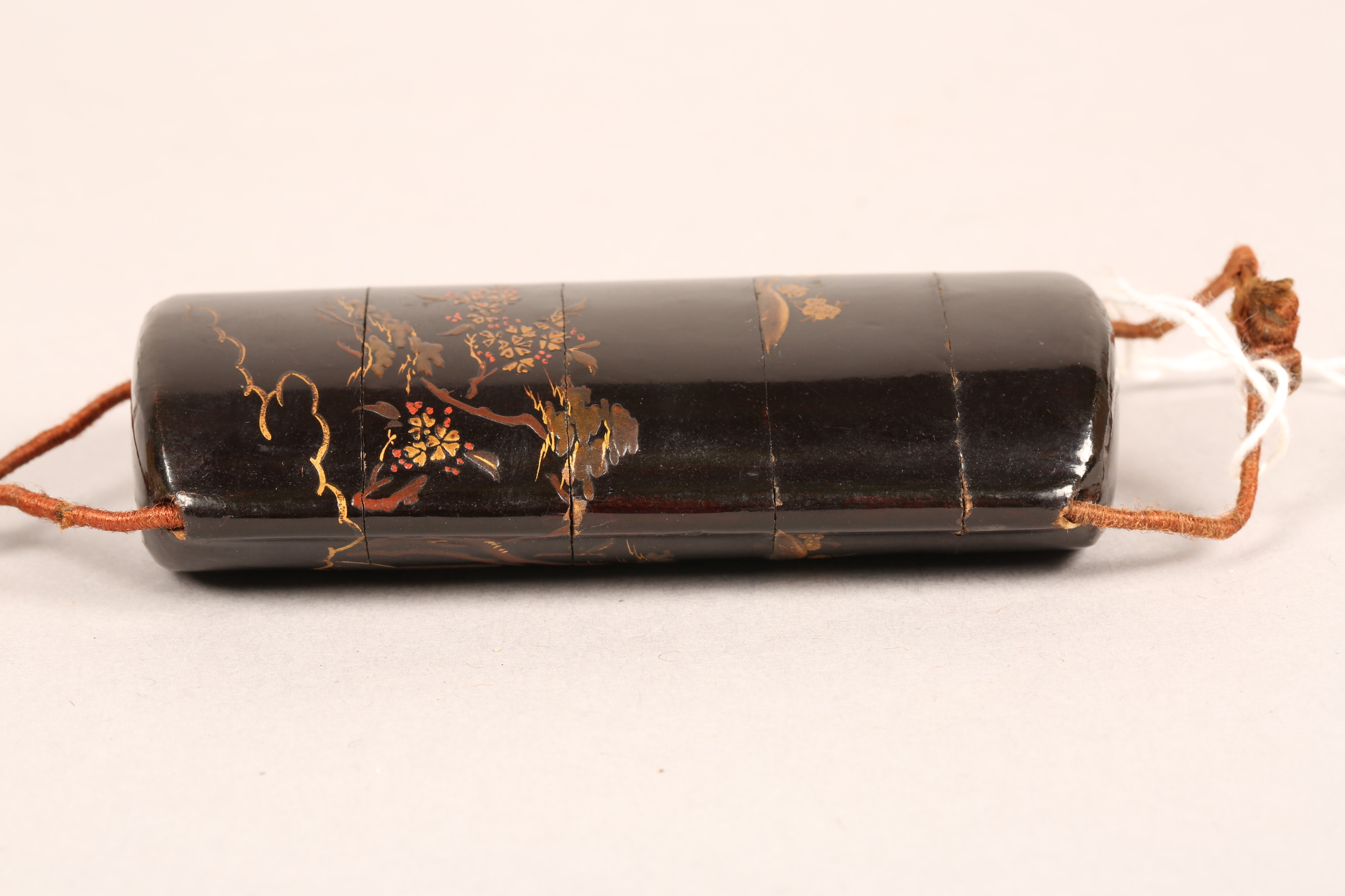 Japanese four case black lacquer inro, gilt decoration together with a carved ivory buddhist dog - Image 7 of 9