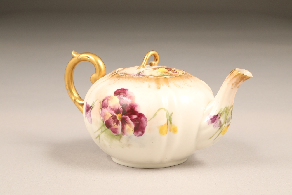 Nautilus porcelain teapot, gilt scroll teapot, hand painted in pansies. - Image 2 of 4