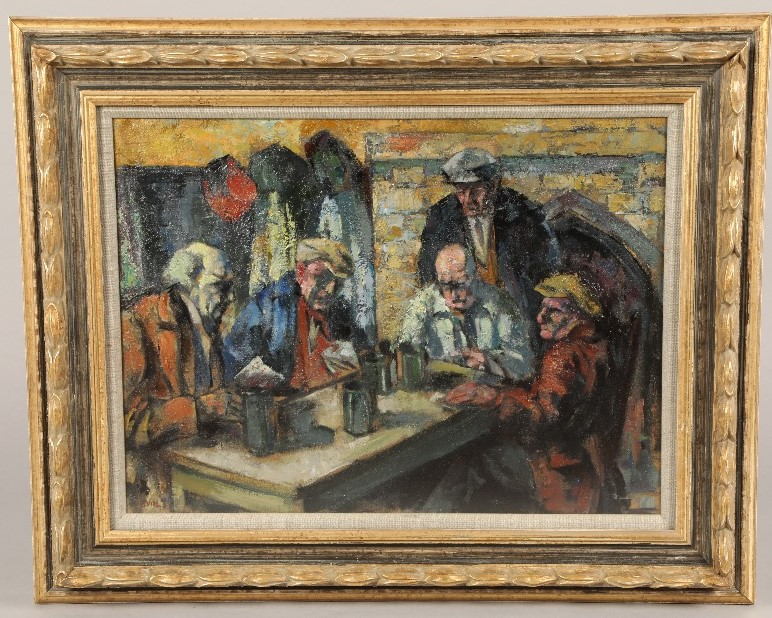 Alfred Wolmark (British 1877- 1961) ARR Framed oil on canvas, signed 'The Card Players' 40cm x 54cm - Image 2 of 3