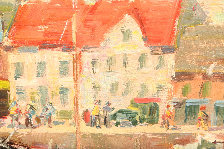 John McCutcheon ROI (Scottish born 1910) ARR Framed oil on board, signed 'Anstruther' 49cm x 59cm - Image 2 of 5