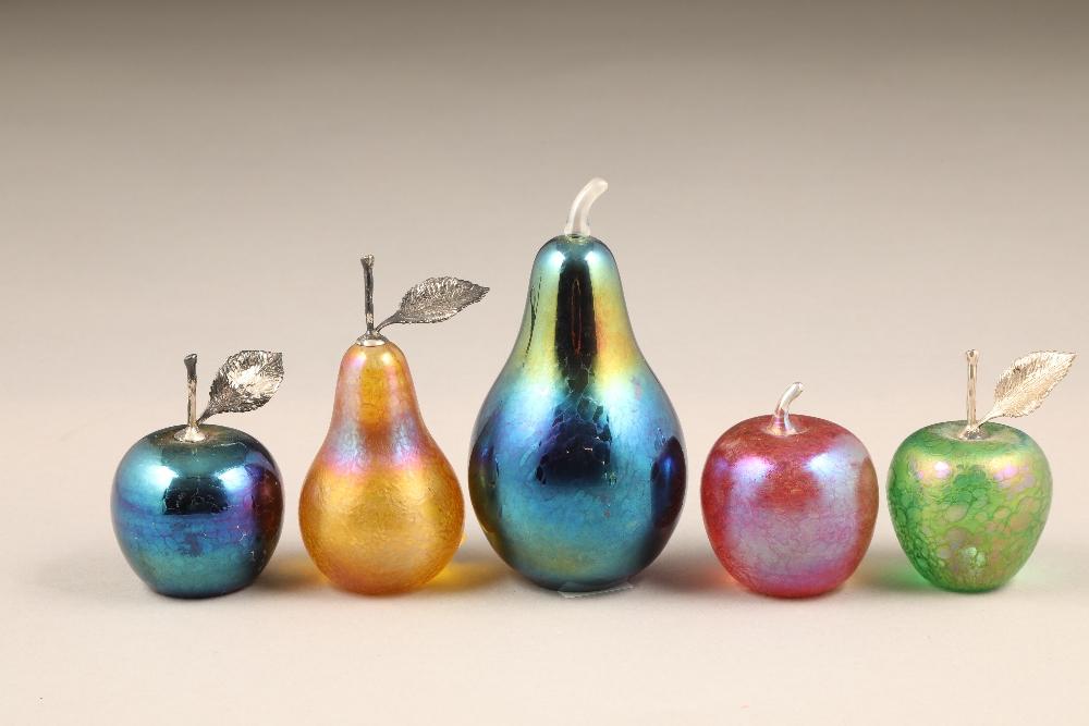 John Ditchfield for Glasform, eleven assorted iridescent glass paperweights.