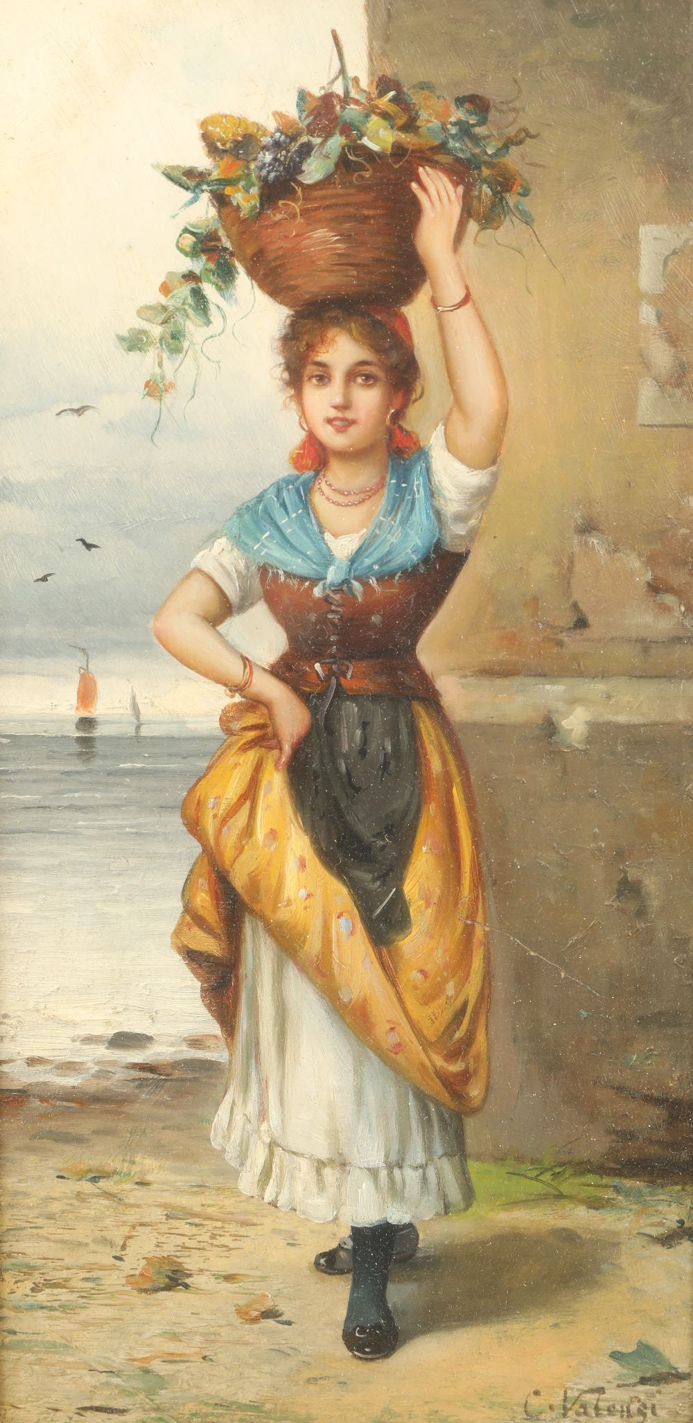 Valengi Gilt framed oil on board, signed 'Continental girl, standing with basket balanced on her