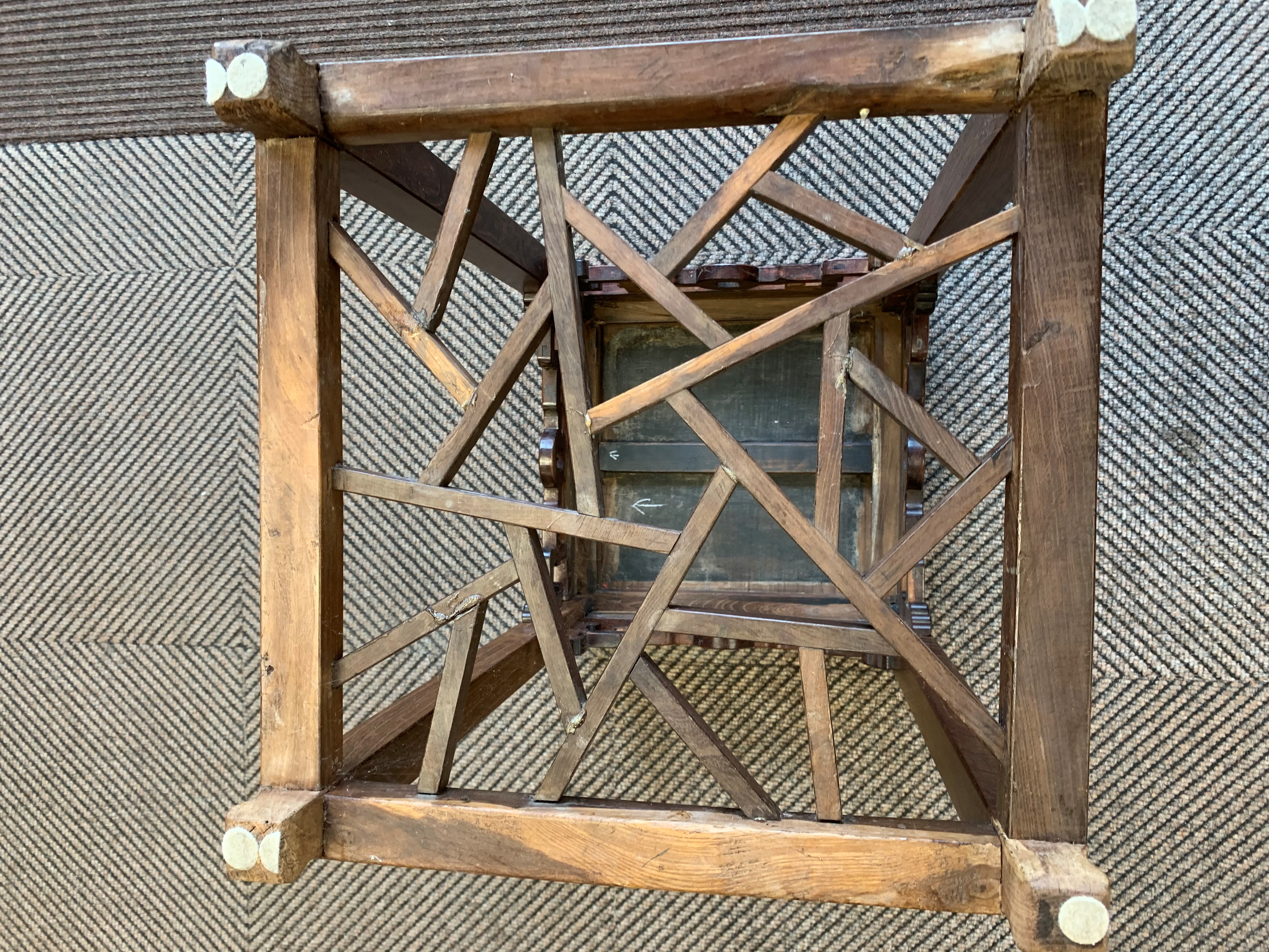 Chinese hardwood jardiniere stand, square topped raised on four legs united by cross stretchers, - Image 5 of 6
