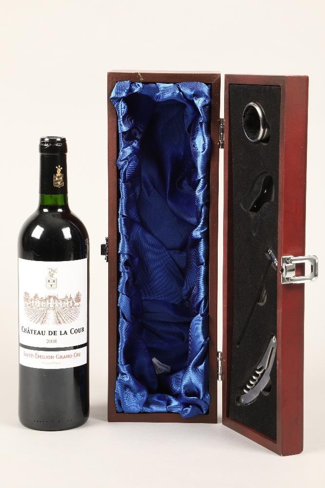 One bottle of Chateau De La Cour 2008, Saint-Emilion Grand Cru in presentation box.
