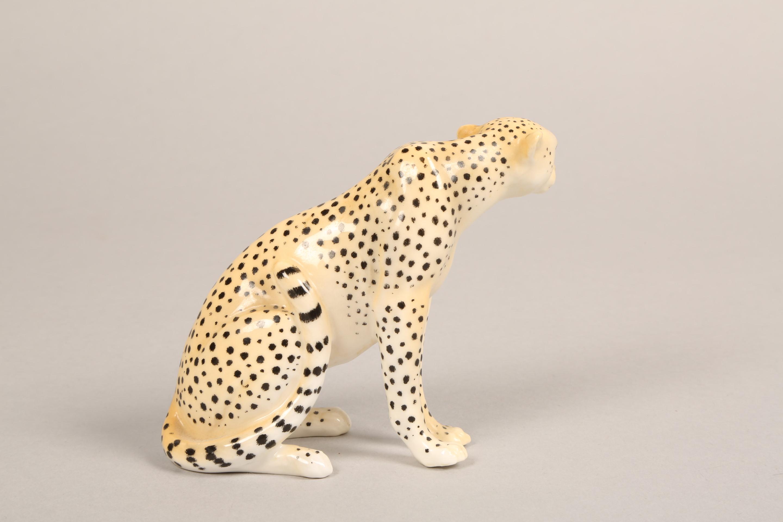 Royal Worcester porcelain cheetah figure ornament, 9.5cm high. - Image 4 of 5