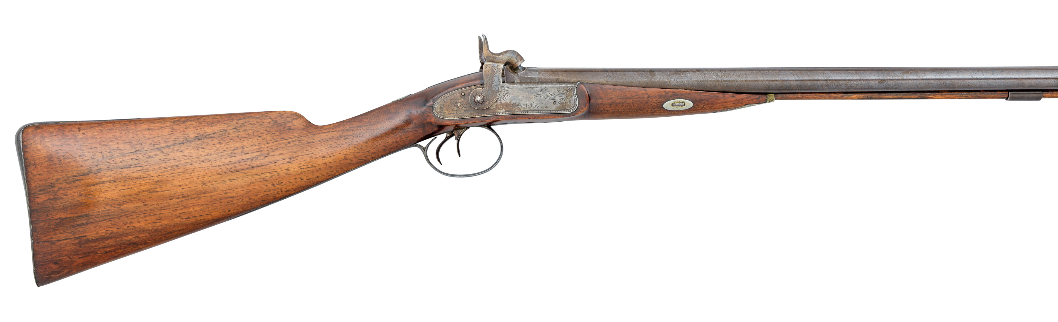 Ⓦ A 20 BORE PERCUSSION SPORTING GUN SIGNED GRIFFITHS^ LONDON^ BIRMINGHAM PROOF MARKS^ CIRCA 1830
