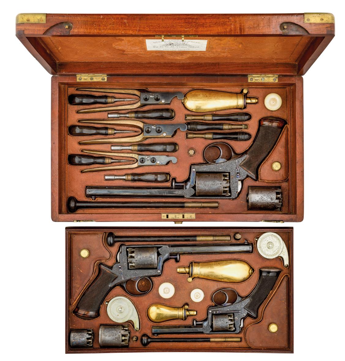 ‡˜Ⓦ AN EXCEPTIONAL CASED SET OF 38 BORE^ 54 BORE AND 120 BORE ADAMS PATENT 1851 MODEL SELF-COCKI