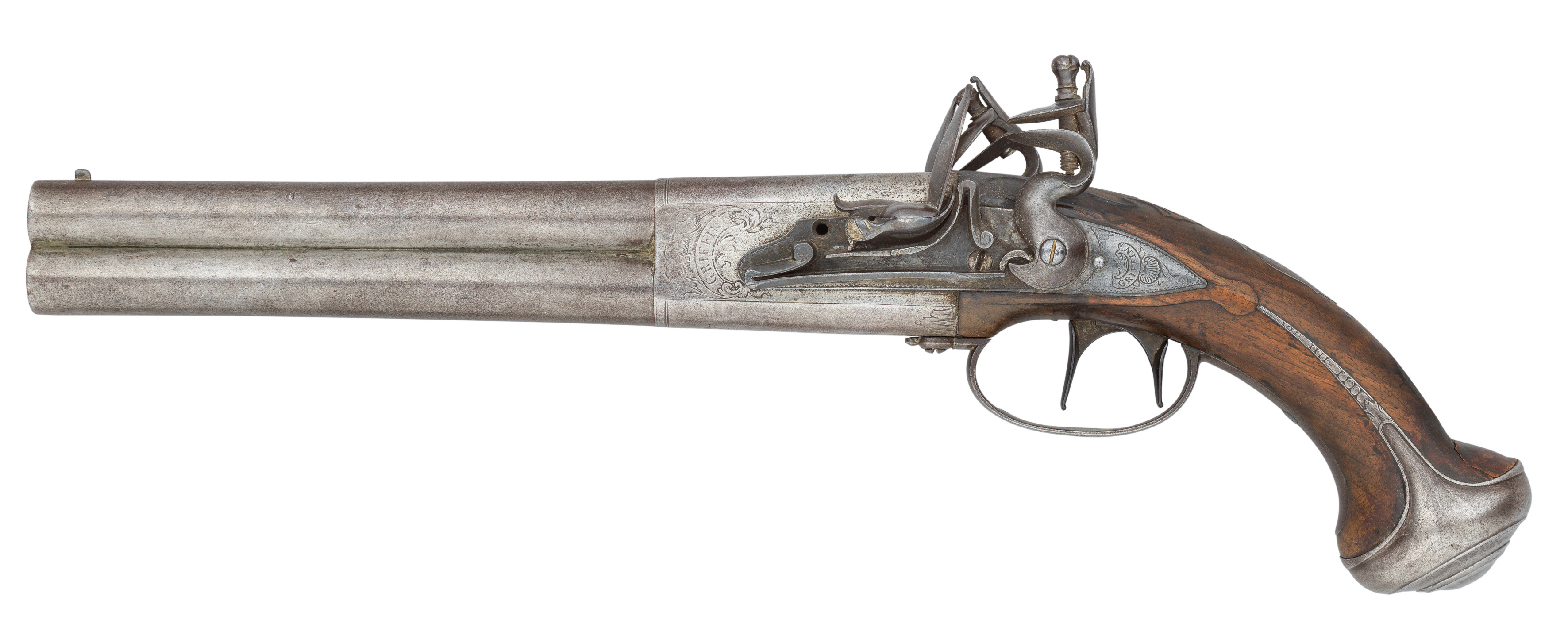 A RARE 18 BORE FLINTLOCK OVER-AND-UNDER DOUBLE TRIGGER HOLSTER PISTOL WITH PROVISION FOR A SHOULDER