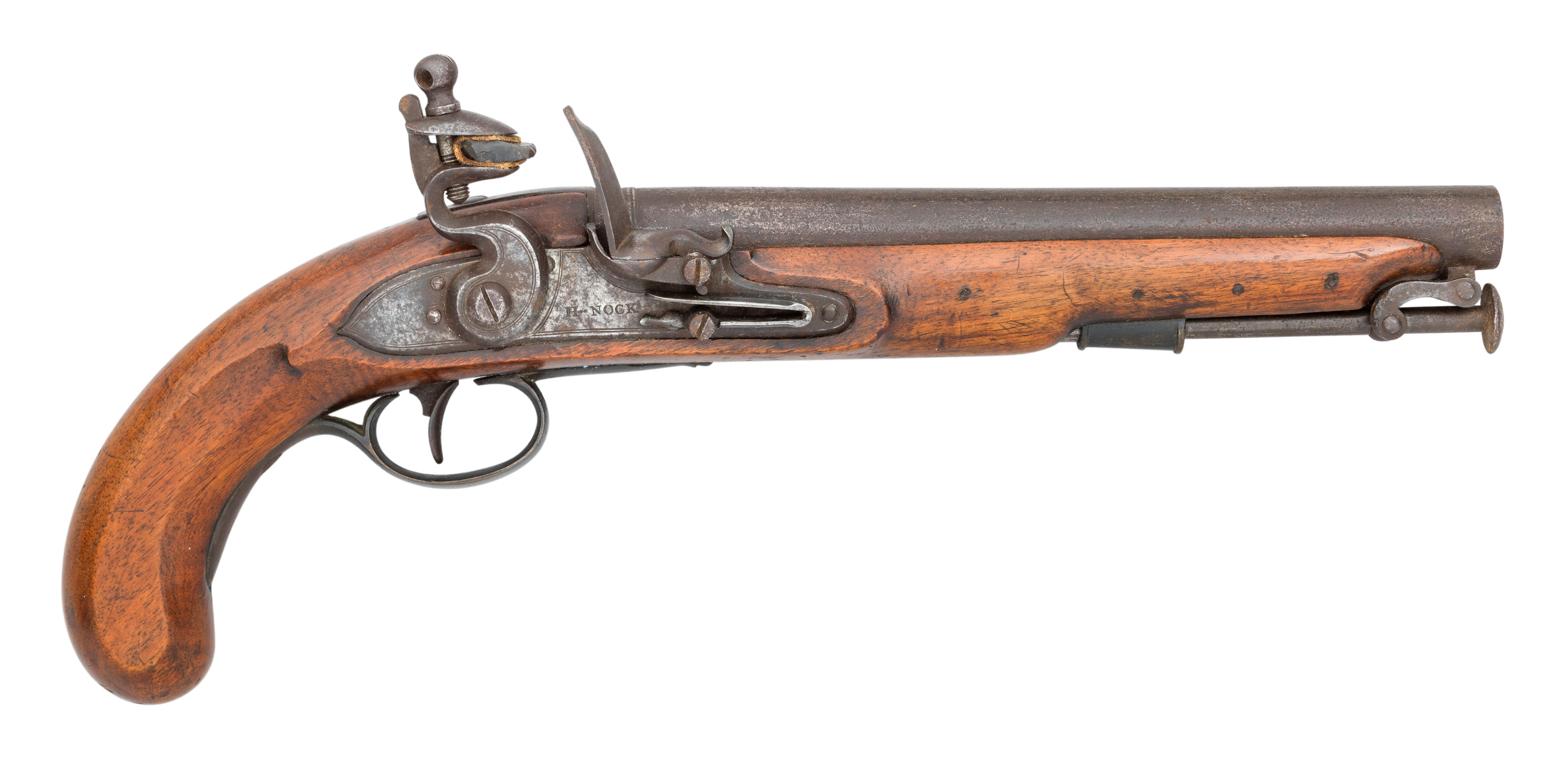 A .650 CALIBRE FLINTLOCK PISTOL OF DRAGOON TYPE^ BY H NOCK^ TOWER PRIVATE PROOF MARKS^ CIRCA 1800