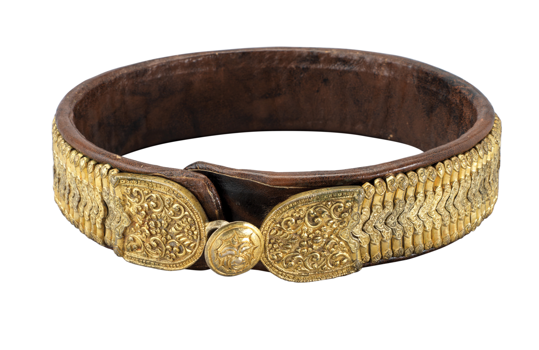 Ⓦ AN OTTOMAN BALKAN SILVER-GILT MOUNTED BELT^ LATE 18TH/EARLY 19TH CENTURY