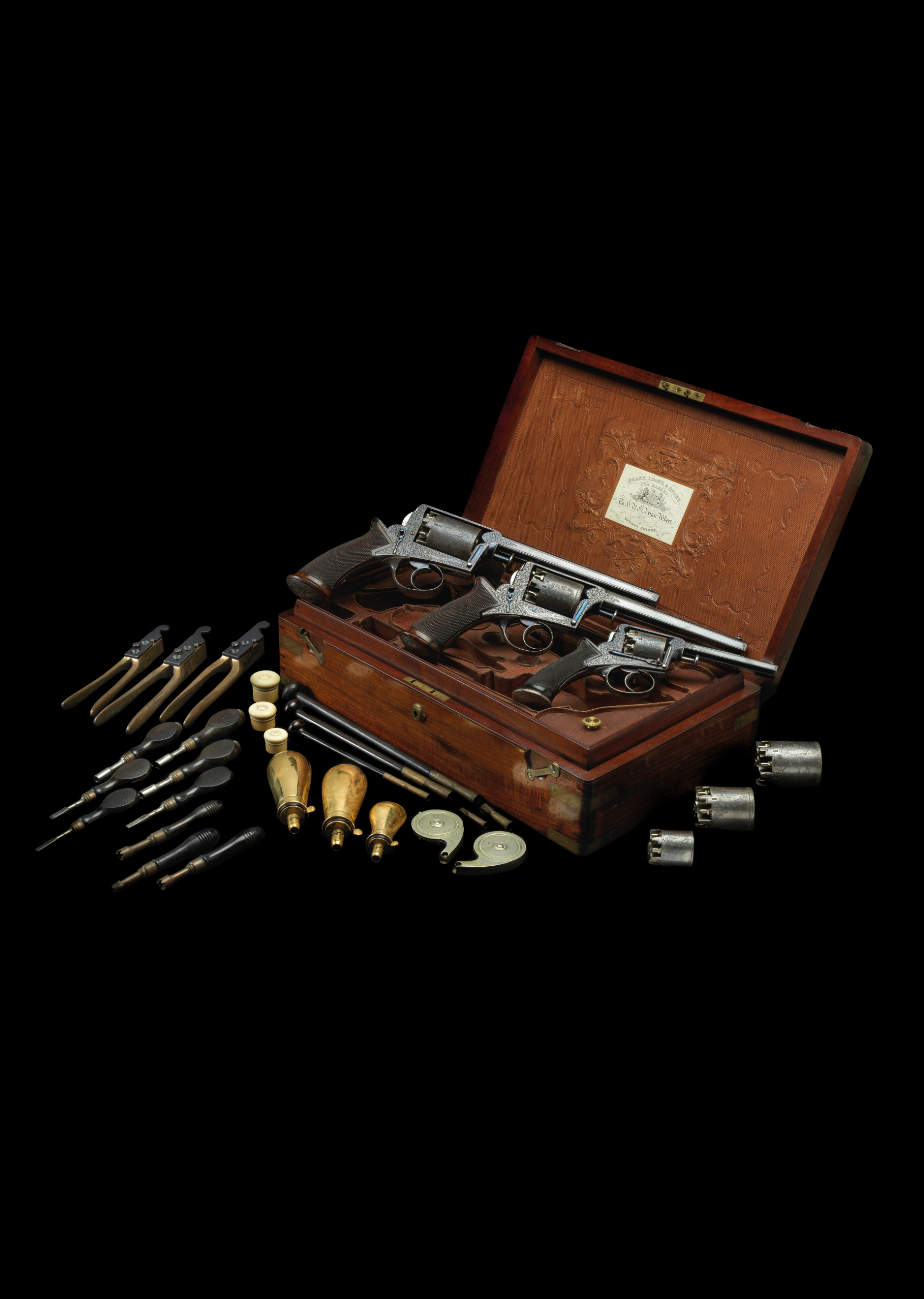 ‡˜Ⓦ AN EXCEPTIONAL CASED SET OF 38 BORE^ 54 BORE AND 120 BORE ADAMS PATENT 1851 MODEL SELF-COCKI - Image 3 of 5